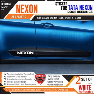 Nexon Stickers for Tata Nexon Door Mouldings - White - CarMetics