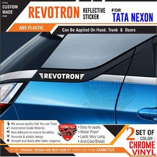 Revotron Stickers for Tata Nexon - Black-Chrome - CarMetics