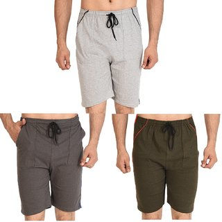 Combo of 3 Shorts ( Brown, Grey, Green ) Adjustable Size for 30 - 32 - 34 - 36