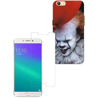 Combo of Oppo A57 - Joker Ballon Red White Case with Screen Protector -  Hard Back Case Cover and Premium Quality Tempered Glass Screen Protector  for