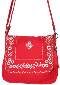 Red Canvas With White Floral Embriodary Design