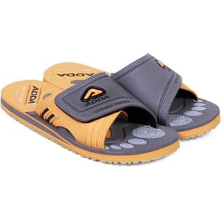 ADDA COMFORTABLE GREY/YELLOW COLOR SLIPPERS FOR MEN