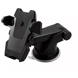 E Lv Car Mobile Holder Double Clamp for Dashboard  Windshield - Black