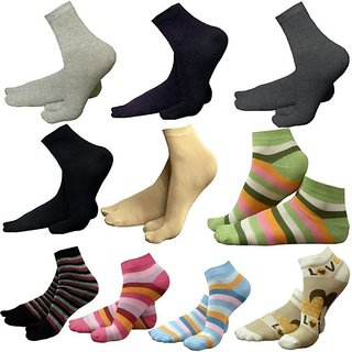 Pack Of 10 Women''s Premium Cotton Socks With Thumb Partition