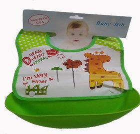 Dazzle baby bib waterproof baby bib for girl baby bib for boy silicon bib with attachable bowl baby feeding bib green