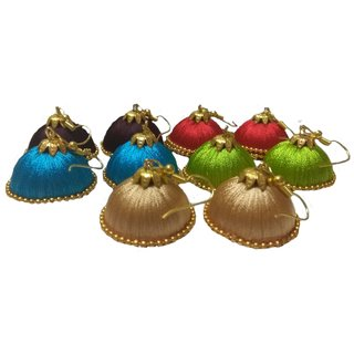 Hand Made Silk Thread Red Green Sky Blue Brown And Golden Earings Combo Set