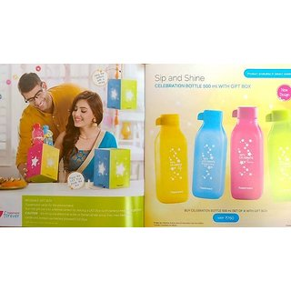 Tupperware New Square printed Water Bottle 500ml (Set of 4)