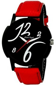 HWT Round Black Dial Red Leather Strap Analog Quartz Party Wear Watch For Men