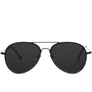 Meia Women's Black UV Protected Full Rim Aviator Sunglasses