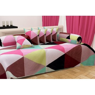 Home Berry Ultra Soft Abstract Diwan set ( 8 Piece Set) DWN-SS-02