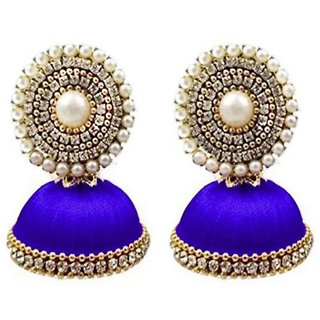 Designer Blue Silk jhumki earrings by Vidyawati