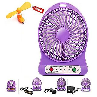 G-MTIN Portable Mini Rechargeable USB Fan With FREE OTG Fan (Assorted Color)
