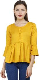 Yellow color Rayon Regluar Top