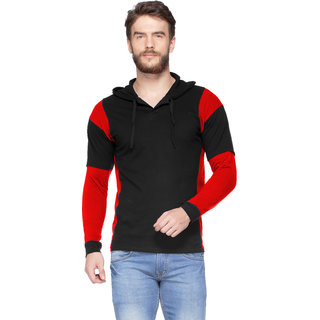 V3Squared Men's Cotton Full Sleeve Hooded Black  Red Fashionable T-ShirtSmall