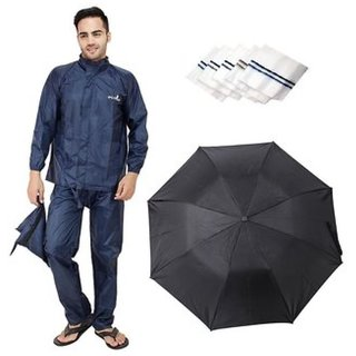 EXCLUSIVE Rain Coat with 3-Fold Black Umbrella And 3 Handkerchiefs