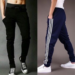 Stylatract Navy Blue and Black Cotton Blend Skinny Fit Trackpants Pack of 2