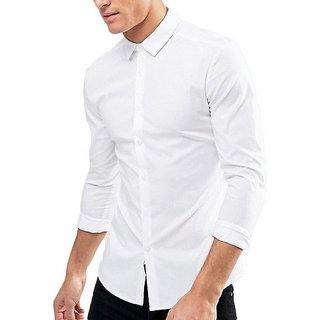 White Regular Fit Shirt For Men by Royal Fashion
