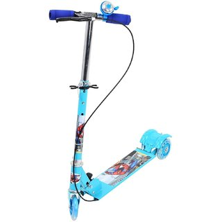 Sajani Kids Foldable 3 wheel Scooter Tricycle for Indoor Outdoor Fun (Blue)