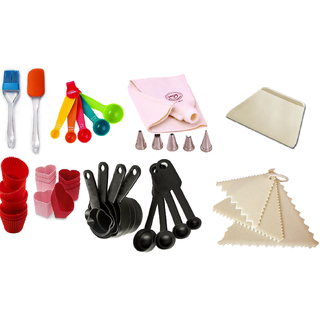 COMBO OF SILICONE SPATULLA BRUSH ICING BAG NOZZLE MEASURIN CUP SPOON SCRAPPER TRIANGLE MUFFIN