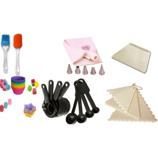 Combo of Silicone Spatulla,Brush,Icing Bag,Nozzle,Measurin Cup,Spoon,Scrapper,Triangle Muffin