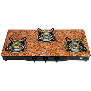 Surya Flame 3 Burner Gas Cooktop Almond (Sfal-Gl-1233B)
