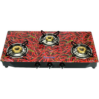 Surya Flame 3 Burner Gas Cooktop Red Chilly (Sfrc-Gl-1353B)