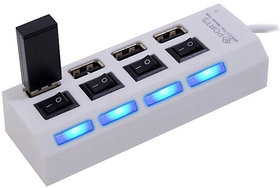 High Speed 4 Port USB HUB 2.0 With Individual Switches - White