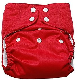jsr brothers Cloth Diaper REUSABLE Nappy Washable Free Size Adjustable WaterProof (RED).