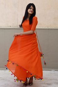 Raabta Orange Pom Pom Long dress