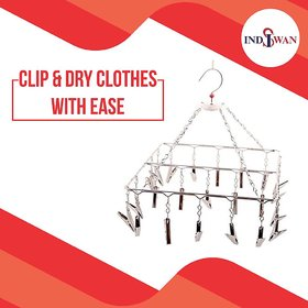 INDISWAN Stainless Steel 25 Clips Cloth Hanger