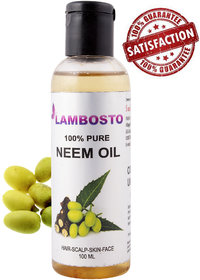 Lambosto Cold Pressed Unrefined Neem Oil For Hair-Scalp-Skin-Face-Nails (100 ml)