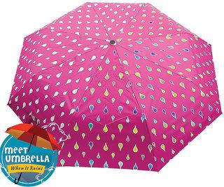 Meet Designer UV Coated 2-Fold Travel Color Changing Umbrella , Pink Color