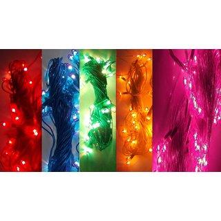SILVOSWAN Diwali Lights 10 Meter Rice Lights for Diwali, Navratri, Christmas, Home Decor Multicolor (Set of 5)