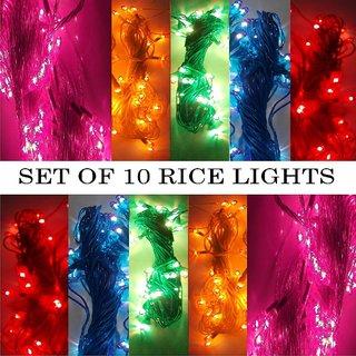 SILVOSWAN Diwali Lights 10 Meter Rice Lights for Diwali / Navratri / Christmas / Home Decor Multicolor (Set of 10)