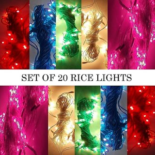 SILVOSWAN Diwali Lights 10 Meter (Set of 20) Rice Lights for Diwali / Navratri / Christmas / Home Decor Multicolor
