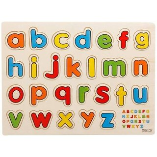 SHRIBOSSJI Wooden Puzzles Small Letters For Kids For Learning (multicolor)