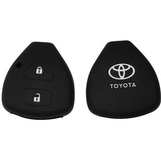 1 Silicone One Piece  Black Fit For Toyota 2 Button Remote Key Cover