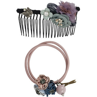 Bijou Vertex Limited Edition Light Grey Vintage Floral Hair Comb Pony Hair Accessory Set