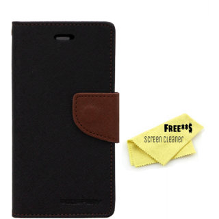 Mercury Diary Goospery Card Wallet Flip Cover Back Case for Samsung Galaxy J3 Pro - Black Brown