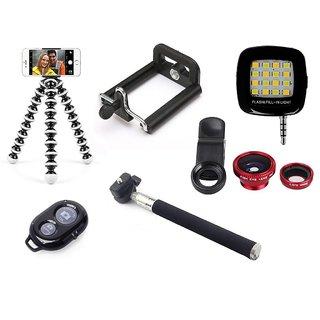De-TechInn SelfieStick Combo Flexible Mini GorillaTripod bluetooth SelfieRemote Selfie Flashlight Universal Camera lense