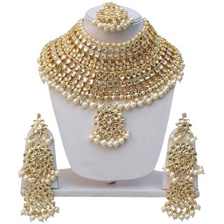 Lucky Jewellery Bridal White Color Gold Plating Kundan And Pearl Stone Necklace Set For Girls  Women