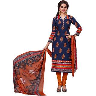 Jevi Prints Women's Unstitched Synthetic Crepe Blue & Orange Block Printed Salwar Suit Dupatta Material