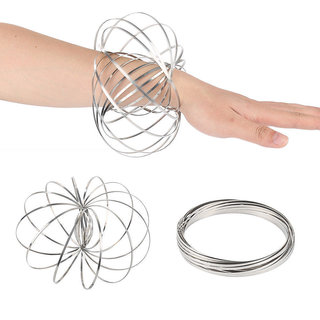 De-Ultimate Flow Magic Hand Rings Original Spring Toy Stainless Steel Rings 3d Sculpture Ring Toys For Kids Adults