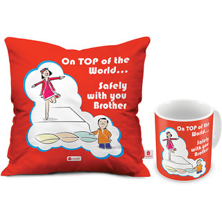 Indigifts Rakshabandhan Gift For Brother Saftey Only With Bro Quote Orange Coffee Mug 330ml Cushion