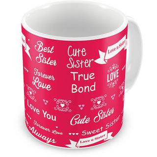 Indigifts Raksha Bandhan Gift For Sister Coffee Mug Ceramic Pink 330 Ml Set Of 1