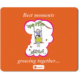 IndigiftsRaksha Bandhan Gifts For Brother Growing Together Quote Orange Mouse Pad 85x7 Inches