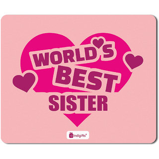 Indigifts Rakshabandhan Gift For Sister SpecialSpecial Worlds Best Sis Quote Light Pink Mouse Pad 85x7 Inches