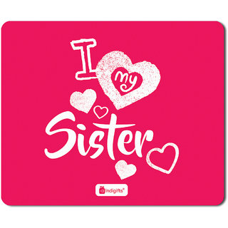 Indigifts Raksha Bandhan Gift For Sister I Love My Dear Sis Quote Pink Mouse Pad 85x7 Inches