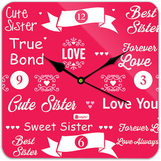 Indigifts Rakshabandhan Gift For Sister Special Best Bhena True Bond Quote Pink Square Wall Clock 11 X
