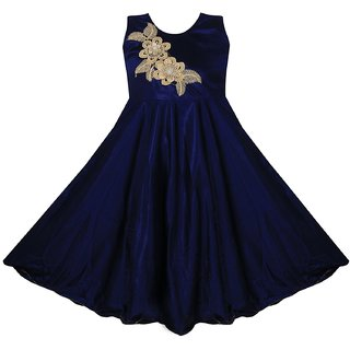 Prince  Princess Baby Girl's Satin Lycra Party Dress ( 8-11 years)